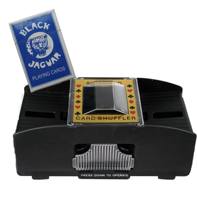 Set van automatische kaartenschudmachine en een pak speelkaarten