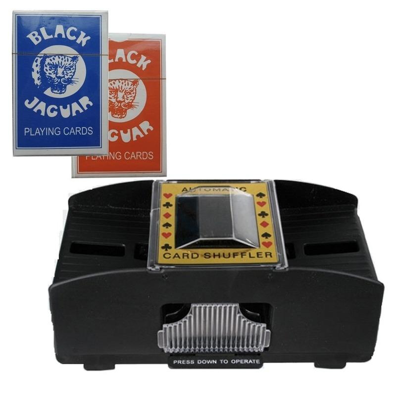 Set van automatische kaartenschudmachine en twee pakjes speelkaarten