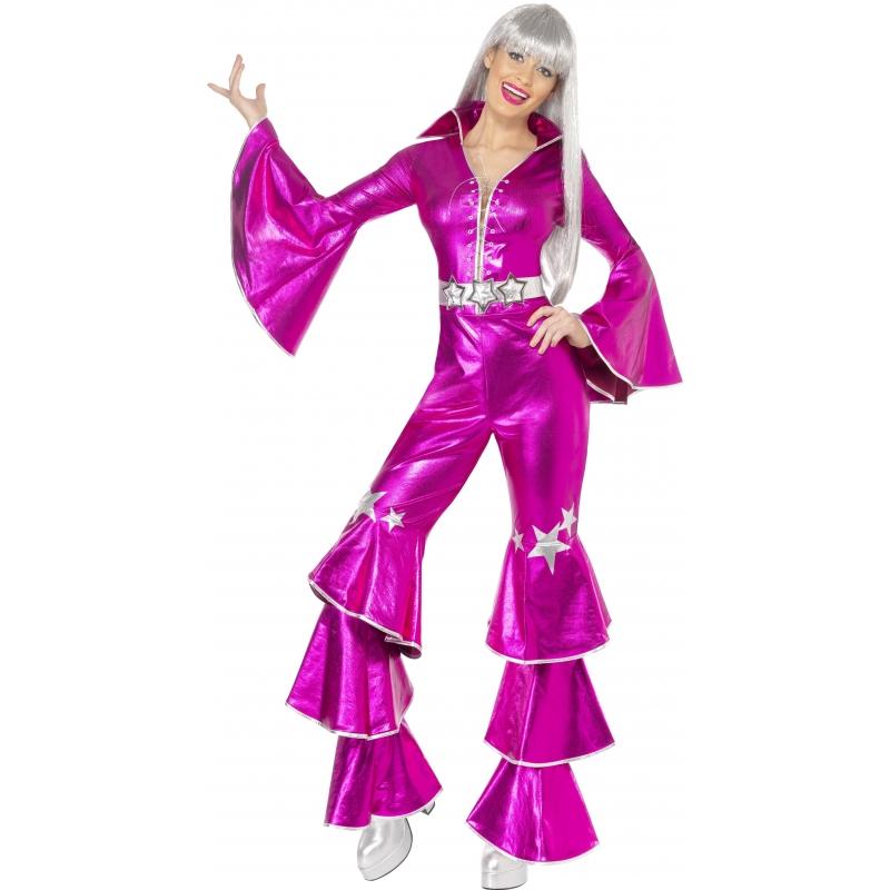 Seventies disco kleding roze