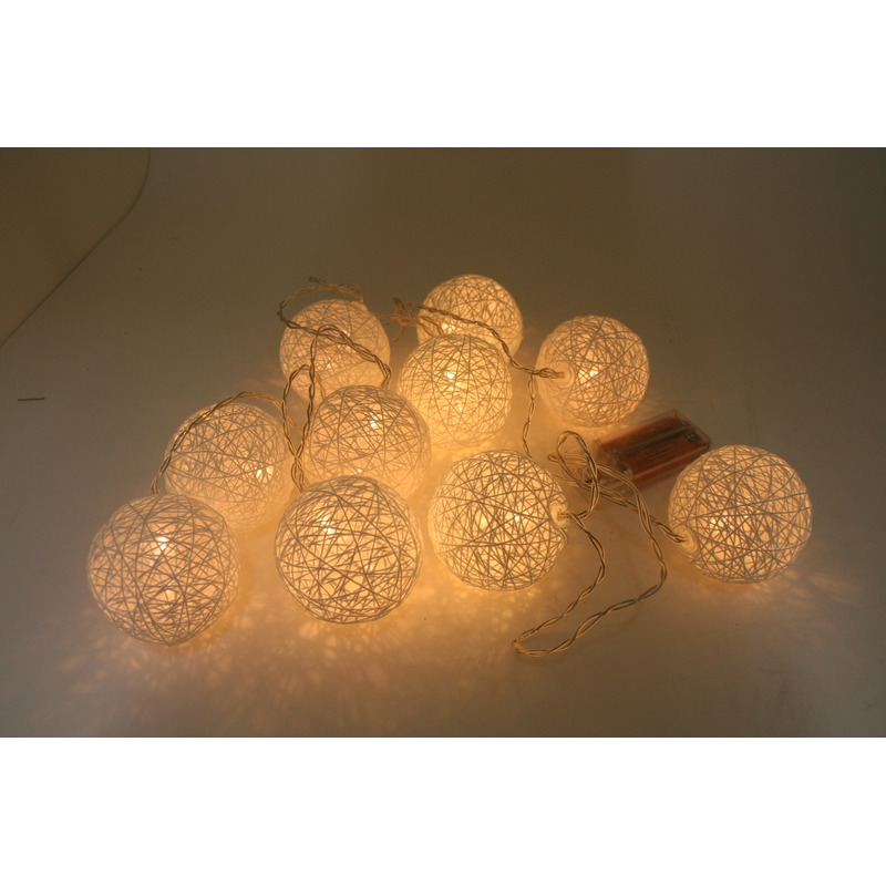 Sfeerverlichting cotton ball 10-delig 180 cm