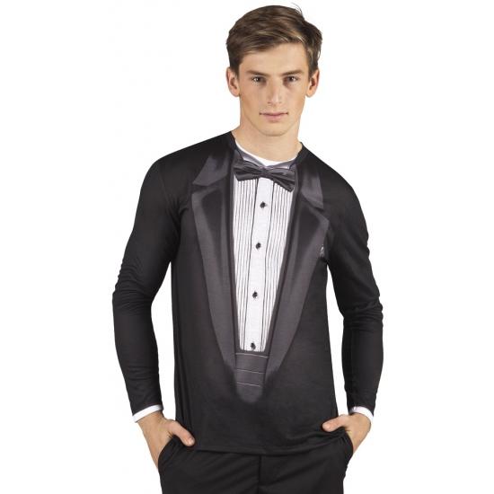 Shirt met tuxedo opdruk