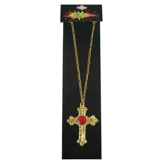 Sinterklaas accessoires gouden ketting met kruis