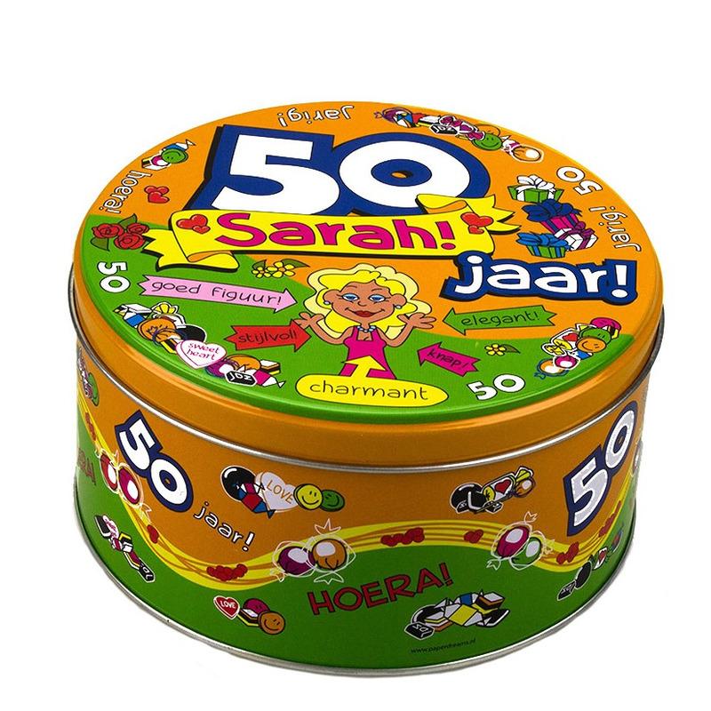 Snoeptrommel/verjaardagstrommel Sarah 50 jaar cadeau/versiering