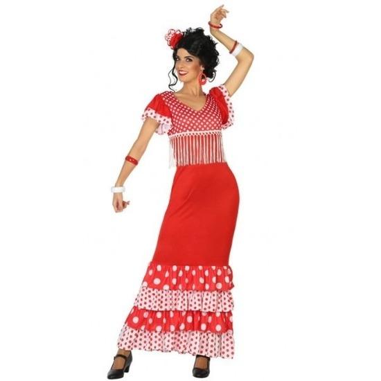 0f52753fa13b4b Flamenco danseres jurk rood voor dames voor een Disco party