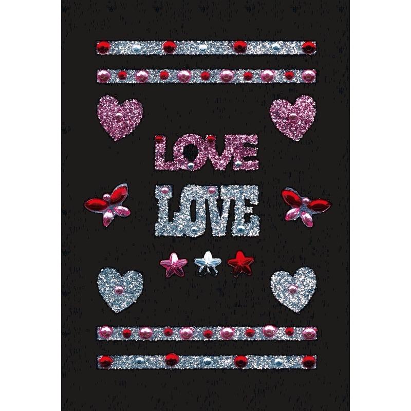 Stickers met glitter love hartjes