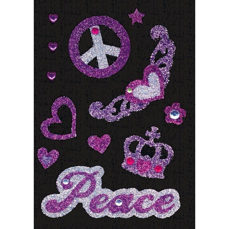 Stickers met glitter peace-sixties-hippie thema