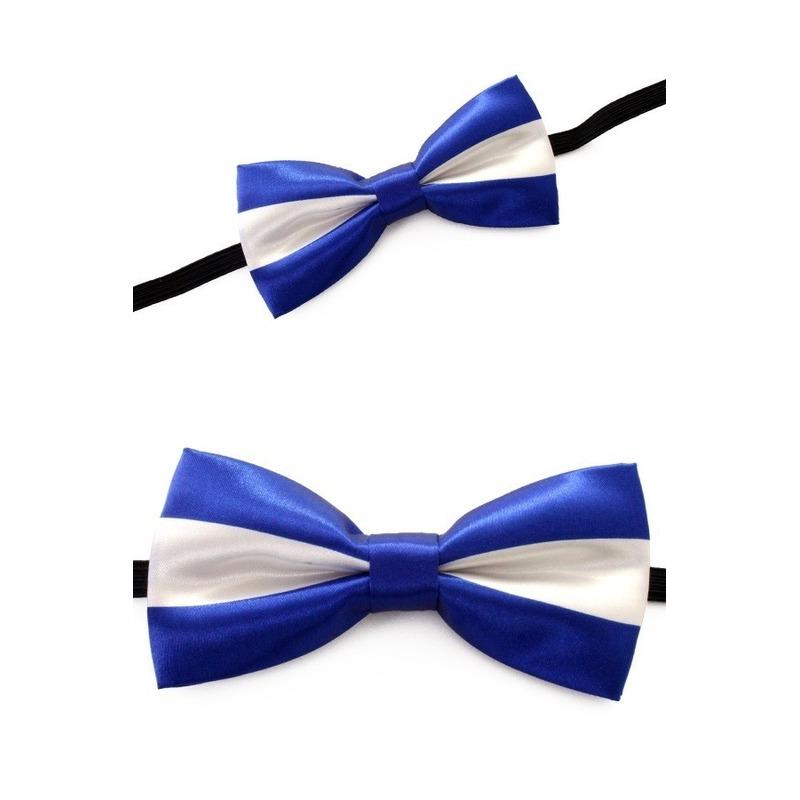 Strikje blauw met wit