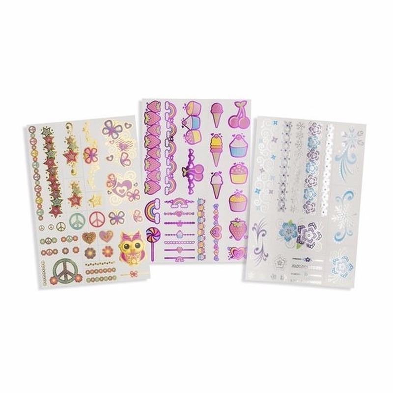 Tatoeages metallic 75 stuks voor meisjes