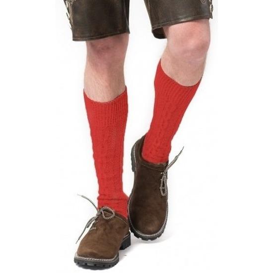 Tiroler-Bierfeest- lederhose sokken rood heren en dames