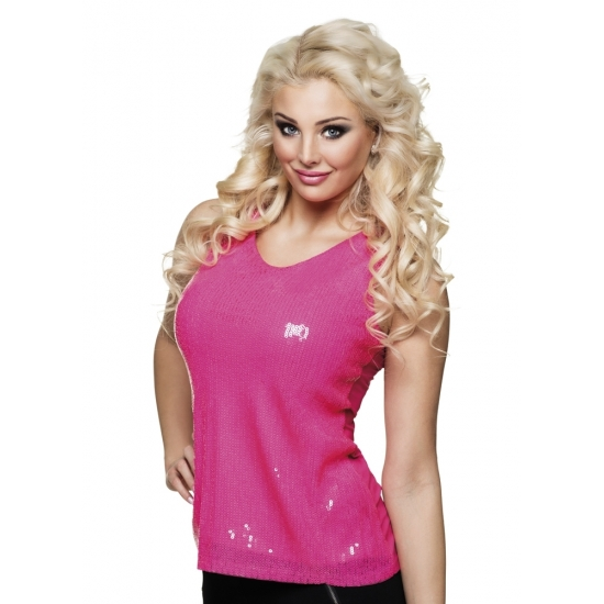 Top/ shirt met roze pailletten glitters dames