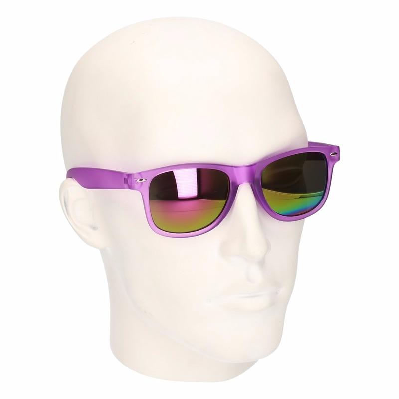 Trendy zonnebrillen paars spiegelglas