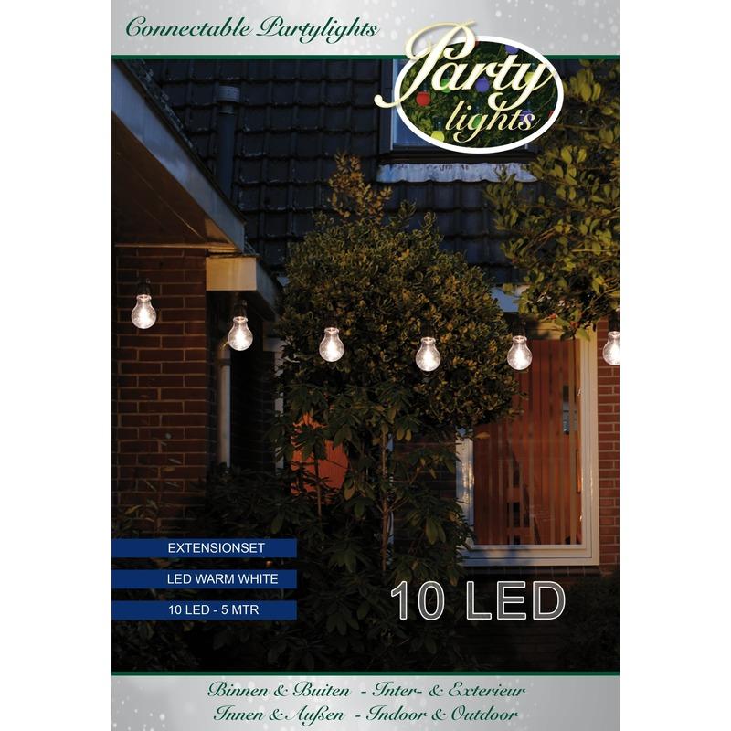 Uitbreidingsset binnen/buiten verlichting lichtsnoer 5 meter met warm witte LED lampjes
