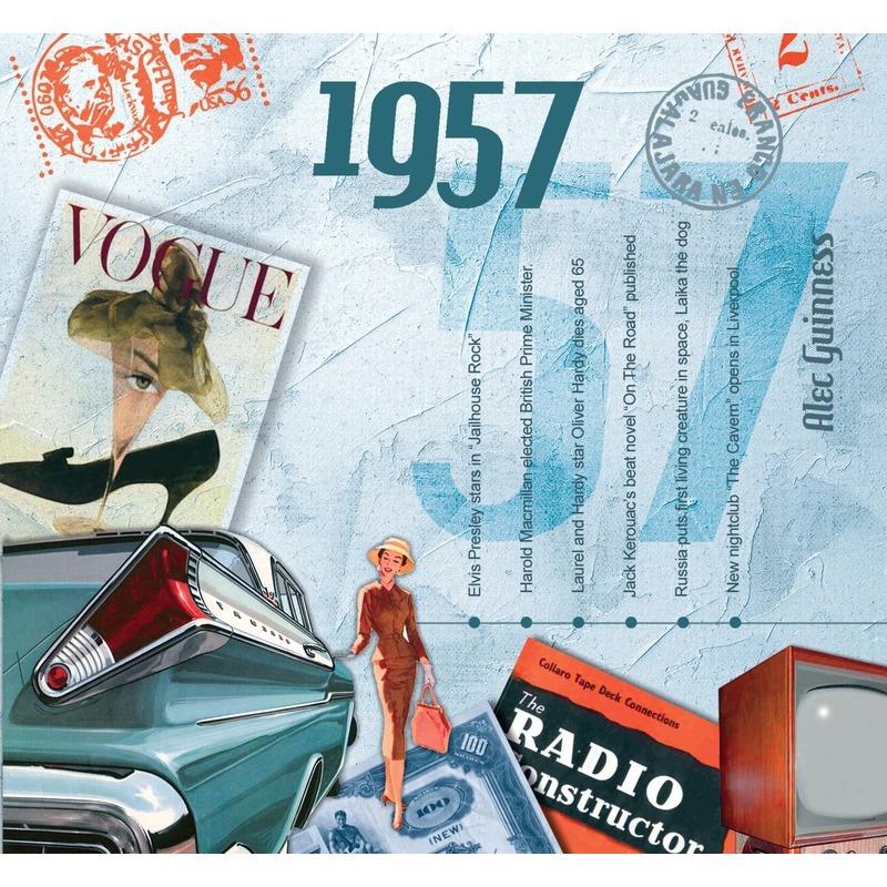 Verjaardag CD-kaart met jaartal 1957