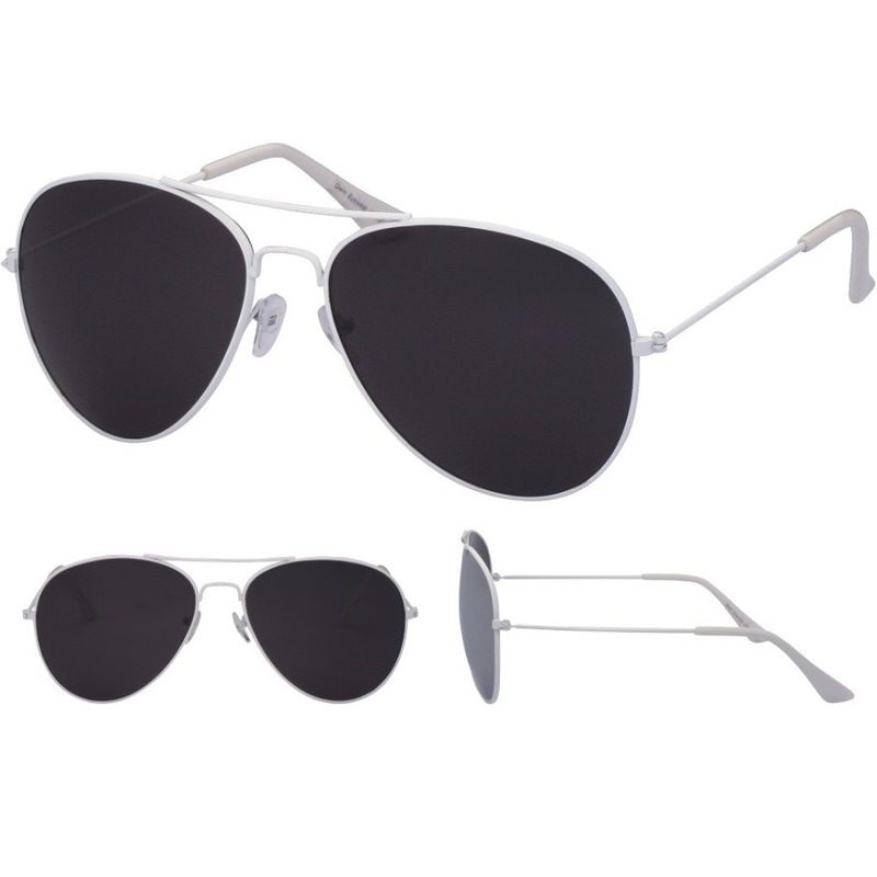 Verkleed piloten zonnebril wit voor volwassenen