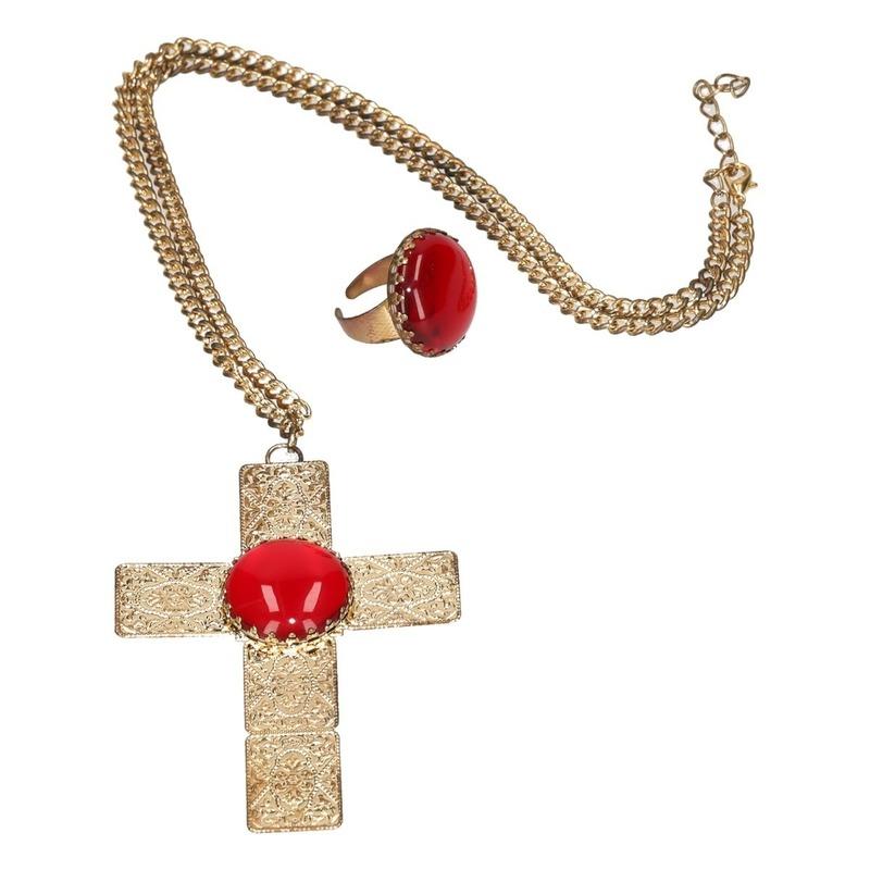 Verkleed Sinterklaas ketting en ring set goud/rood kruis voor heren/volwassenen