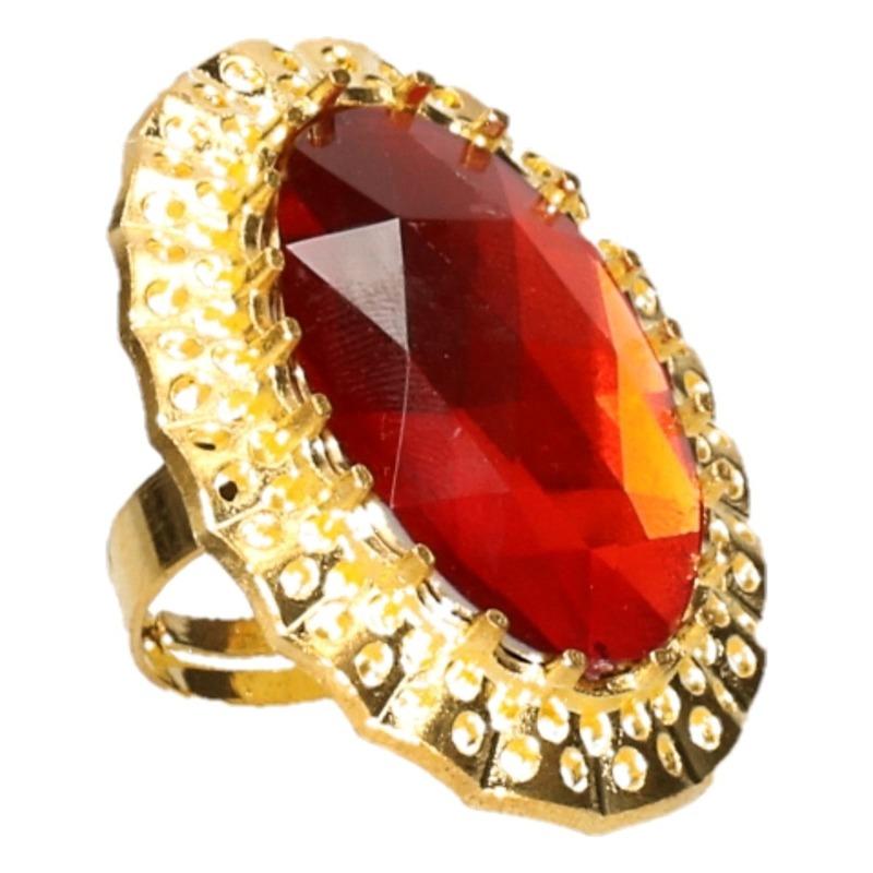 Verkleed Sinterklaas ring goud/rood verstelbaar voor heren/volwassenen