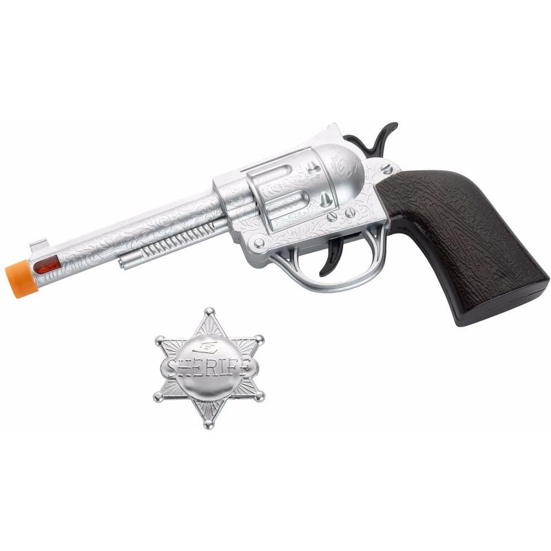 Verkleed western sherrif pistool/wapen/revolver en ster/badge