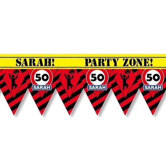 Versiering/decoratie 50 Sarah afzetlint vlaggetjes 12 meter