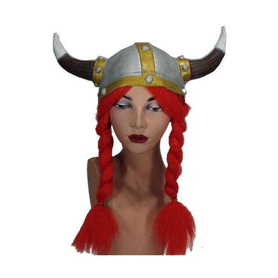 Viking helmen met rode vlechten