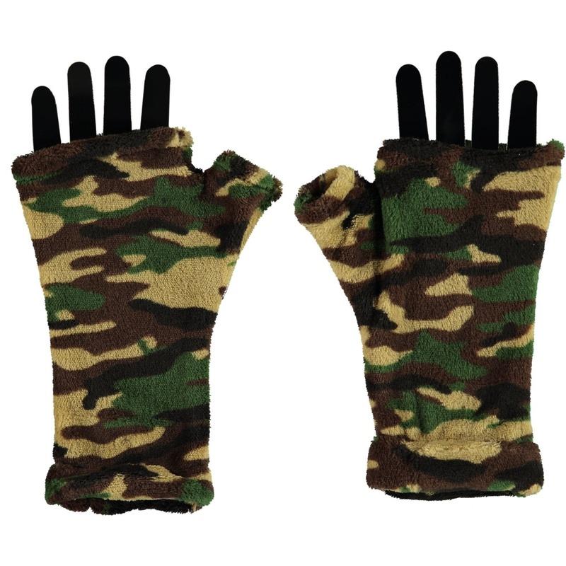 Vingerloze fleece handschoenen camouflage print voor volwassenen