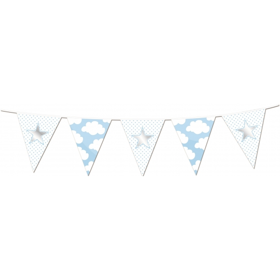 Vlaggenlijnen slingers geboorte jongen thema