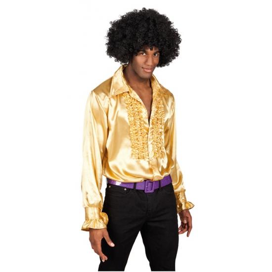 77f7d0e7a65 Heren rouche overhemd goud voor een Disco party