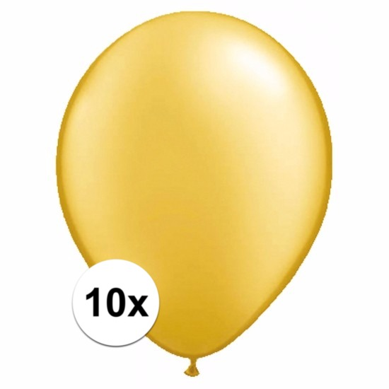 Voordelige metallic gouden ballonnen 10 stuks
