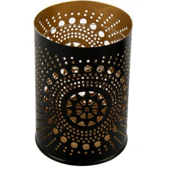 Waxinelichthouder zwart met koper