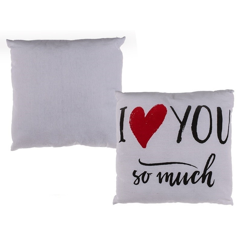 Wit bank kussentje I love you so much 40 x 40 cm