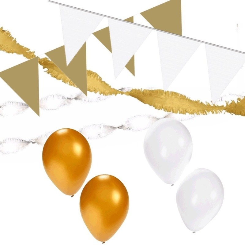 Wit en Goud feestartikelen decoratie pakket huiskamer