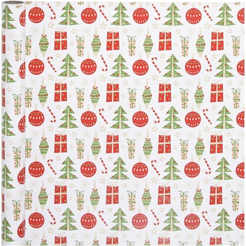 Wit kadopapier met rood-groene kerst elementen