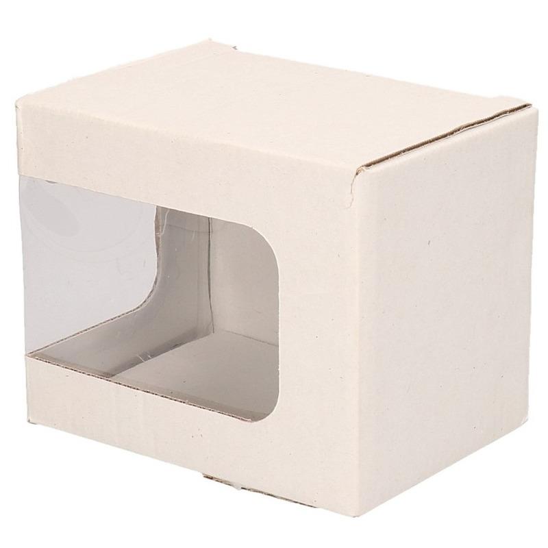 Wit mokkendoosje/ mokken verpakking met venstertje en klep deksel