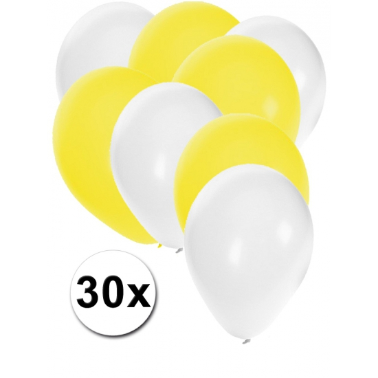 Witte en gele ballonnen 30 stuks