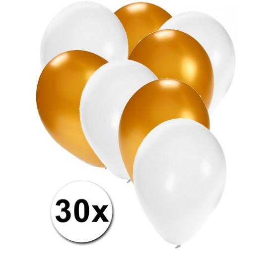 Witte en goude ballonnen 30 stuks