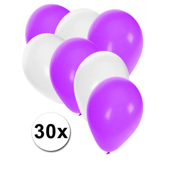 Witte en paarse ballonnen 30 stuks