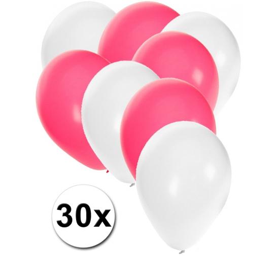 Witte en roze ballonnen 30 stuks