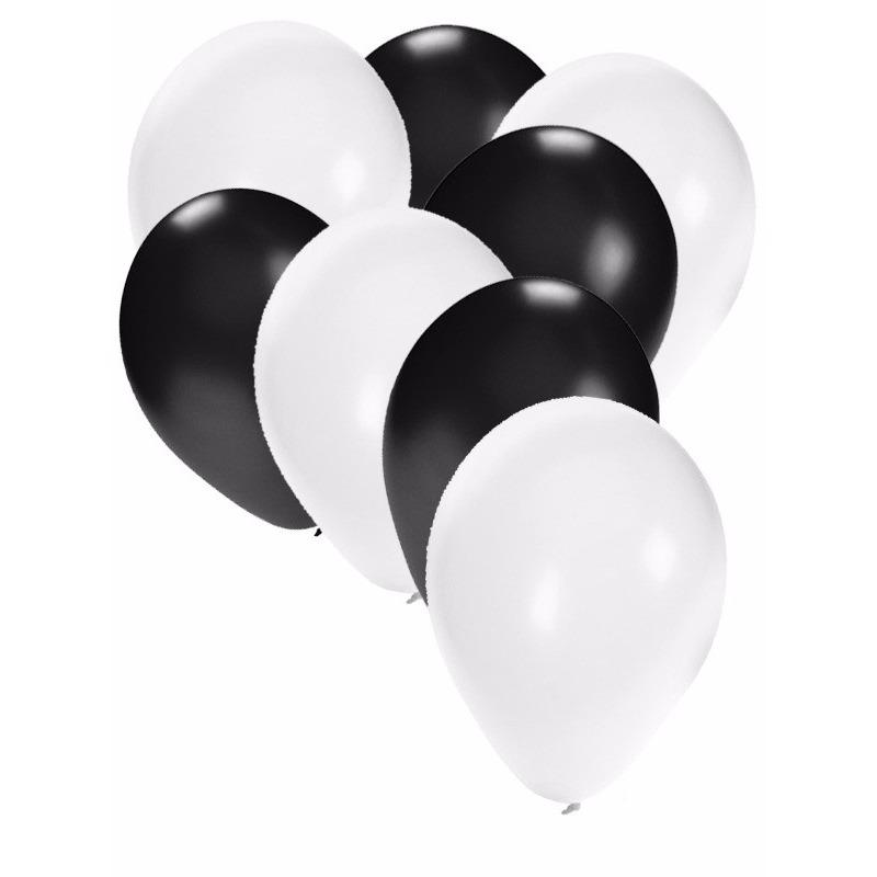 Witte en zwarte ballonnen 30 stuks