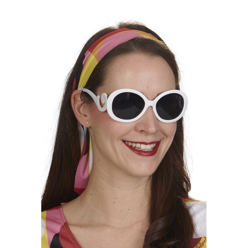 Witte ronde retro verkleed bril