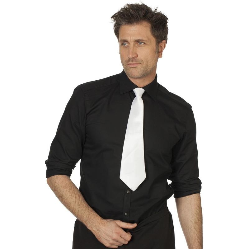 Witte verkleed stropdassen 41 cm voor dames-heren
