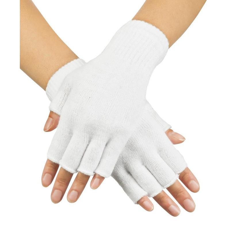 Witte vingerloze verkleed handschoenen gebreid voor volwassenen unisex