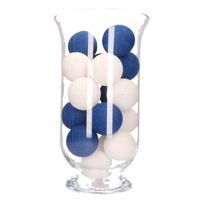Woondecoratie blauw-witte verlichting in vaas
