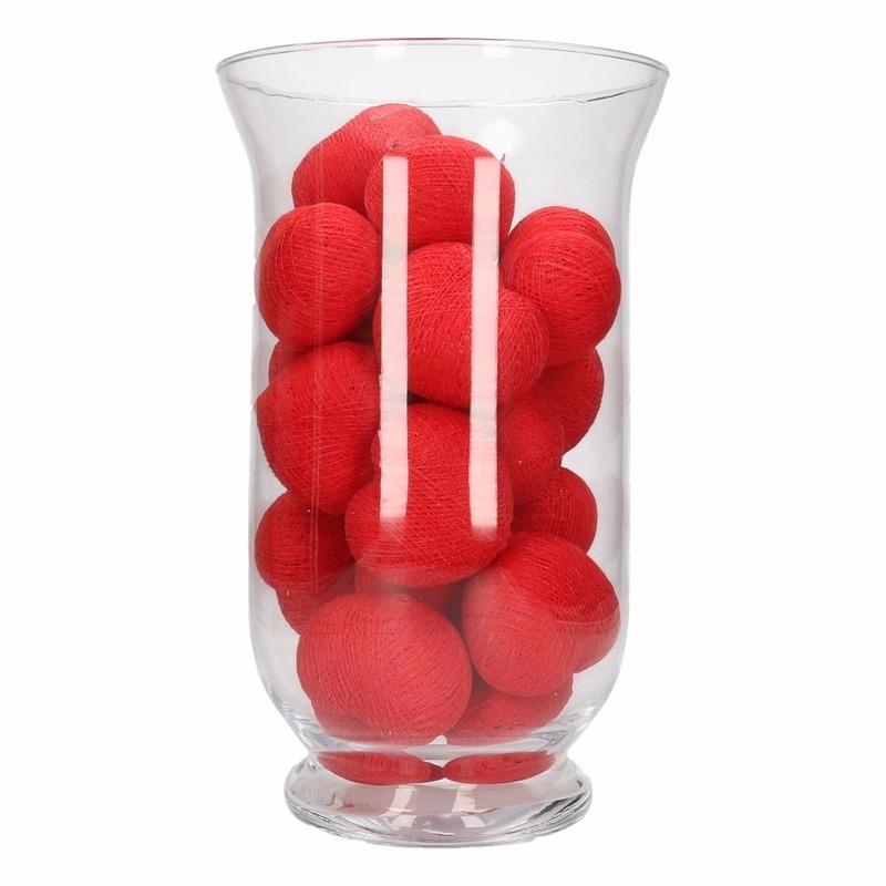 Woondecoratie rode hartjes verlichting in vaas