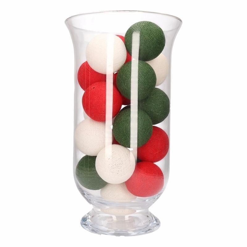 Woondecoratie rood-wit-groene verlichting in vaas