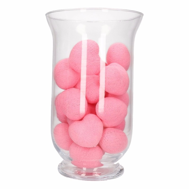 Woondecoratie roze hartjes verlichting in vaas