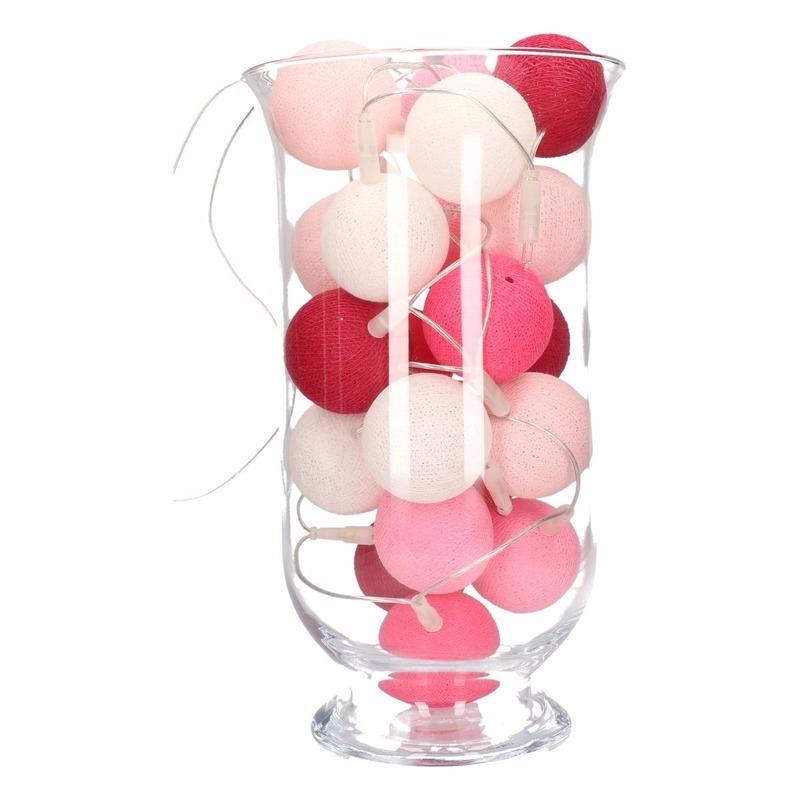 Woondecoratie roze verlichting in vaas