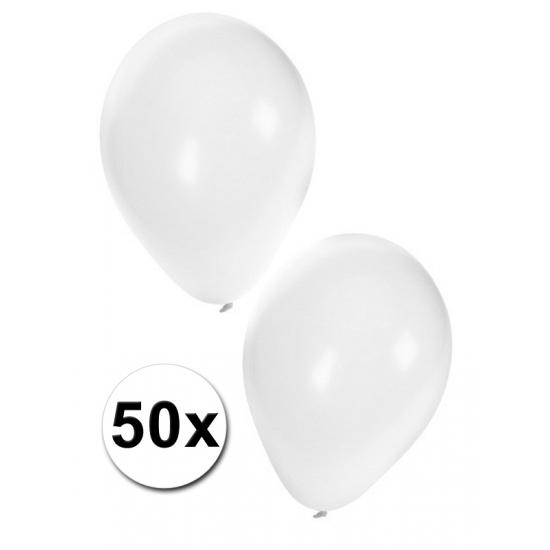 Zakje met 50 witte feest ballonnen