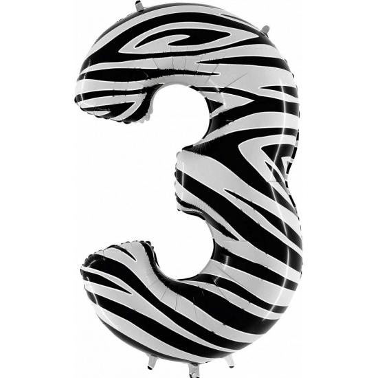 Zebra ballon cijfer 3