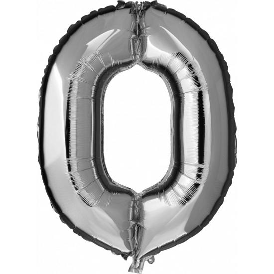 Zilveren ballon cijfer 0 nul