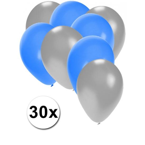 Zilveren en blauwe ballonnen 30 stuks