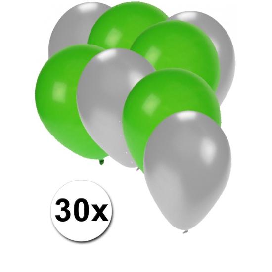 Zilveren en groene ballonnen 30 stuks